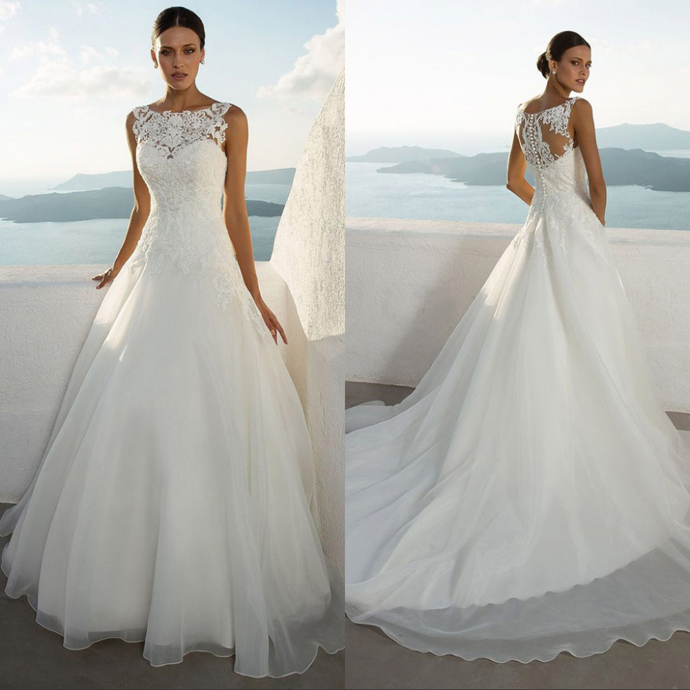 2019 new arrival Luxury Vintage lace Wedding Dress Sexy Illusion Bridal Gown with Court Train vestido