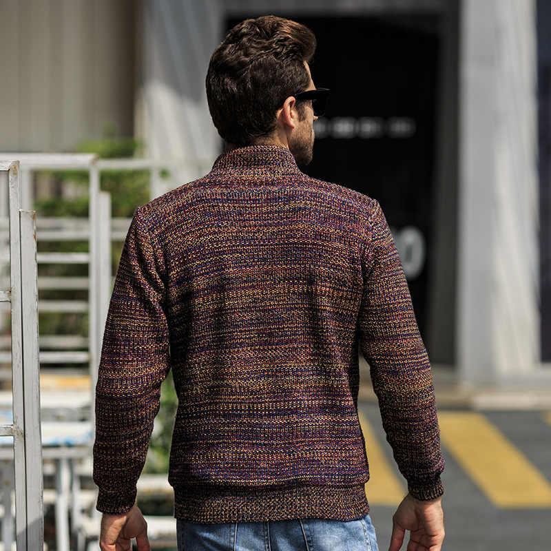 ICPANS rahat erkek kazak kalın 2019 kış için sonbahar Polyester erkek hırka standı yaka artı boyutu m-xxl XXXL