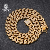 TBTK Luxury Top Quality Stainless Steel Miami Cuban Link Necklace Gold Color Full Iced Out AAA Cubic Zirconia 20mm Chain Jewelry