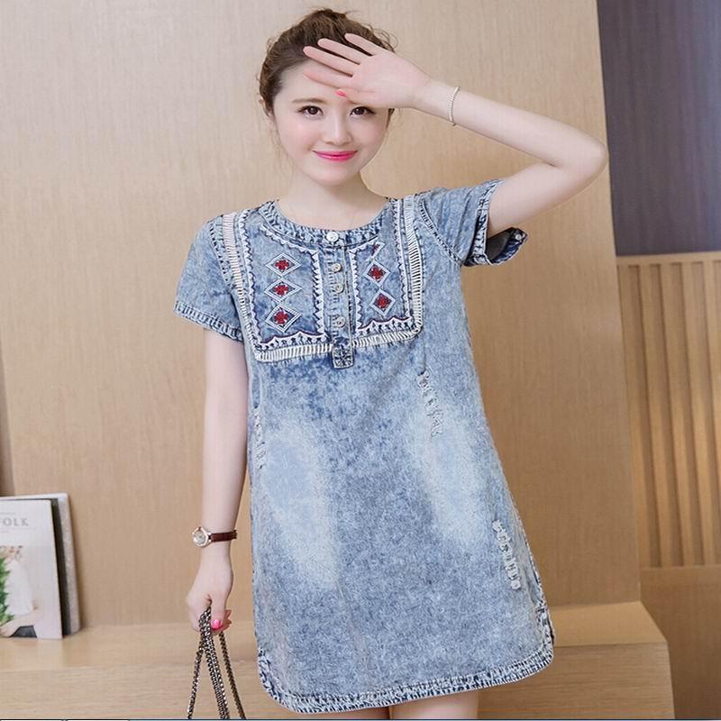 2016 Korean Denim Dress Women Mori Girl Plus Size Jeans Dress