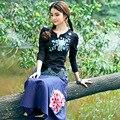Além disso size4xl mulheres preto branco de algodão blusas casuais étnica bordado tops de manga longa blusas femininas
