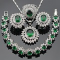 Flower Women Silver Color Jewelry Sets Green Created Emerald White CZ Necklace Pendant Bracelets Earrings Rings Free Gift Box