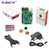 Raspberry Pi 3 Model B Board 2 Aluminum Heat Sink 2 5A Power Adapter Supply Rasp