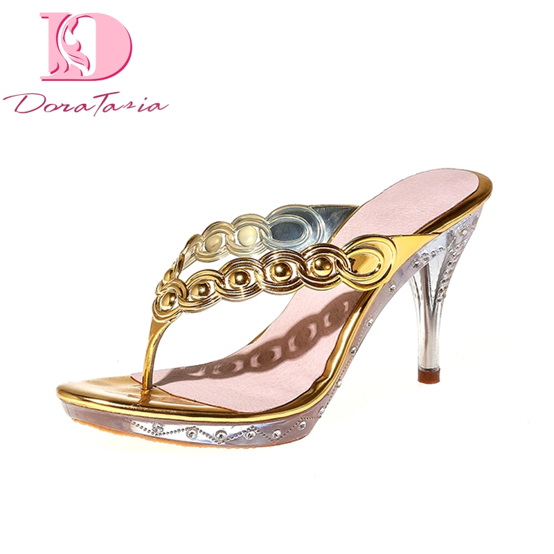 Doratasia 2018 Brand Design Thin High Heels Summer Mules Pumps Shoes Women Sexy Slip On Party Prom Woman Shoes bonjomarisa 2018 summer brand sexy women mules print patent leather pumps crystal high heels party wedding shoes woman