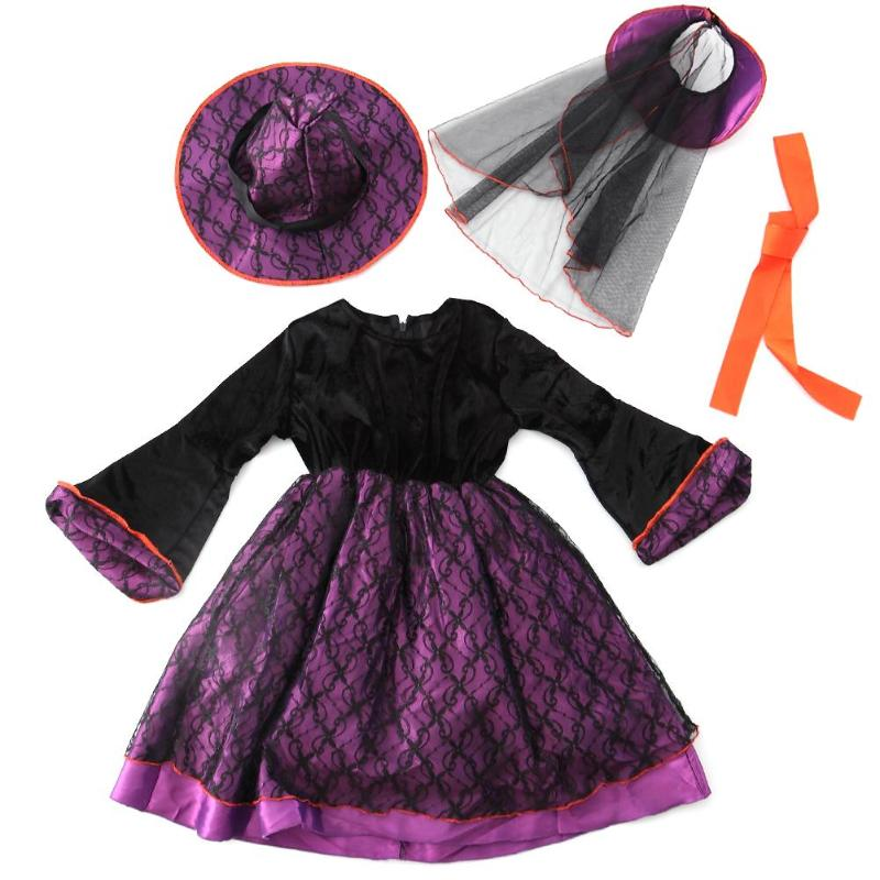 Halloween Party Dress Children Kids Cosplay Witch Costume for Girls Halloween Costume Party witch Dress цена