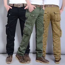Kargo pantolon erkekler iş pantolon gevşek Fit pamuk düz bacak rahat iş giysisi Muti cepler