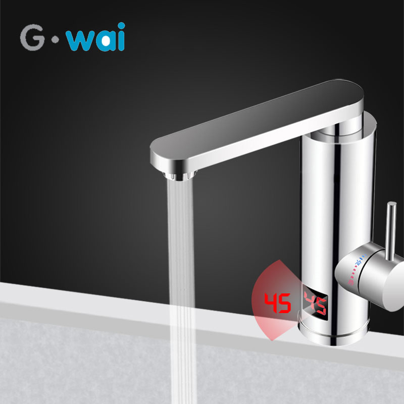 220V Kitchen Electric Water Heater Tap Instant Hot Water Faucet Heater Cold Heating Faucet Tankless Instantaneous Water Heater