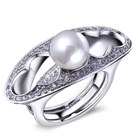 DC1989 Romantic Pearl Engagement Rings For Women 18K Real Gold Platinum Plated Cubic Zirconia Wedding Jewelry