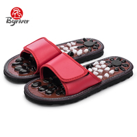 BYRIVER Plantar Acupoint Natural Cobblestone Home Lover Reduce Foot Pain TaiChi Foot Massager Shoes For Men Women