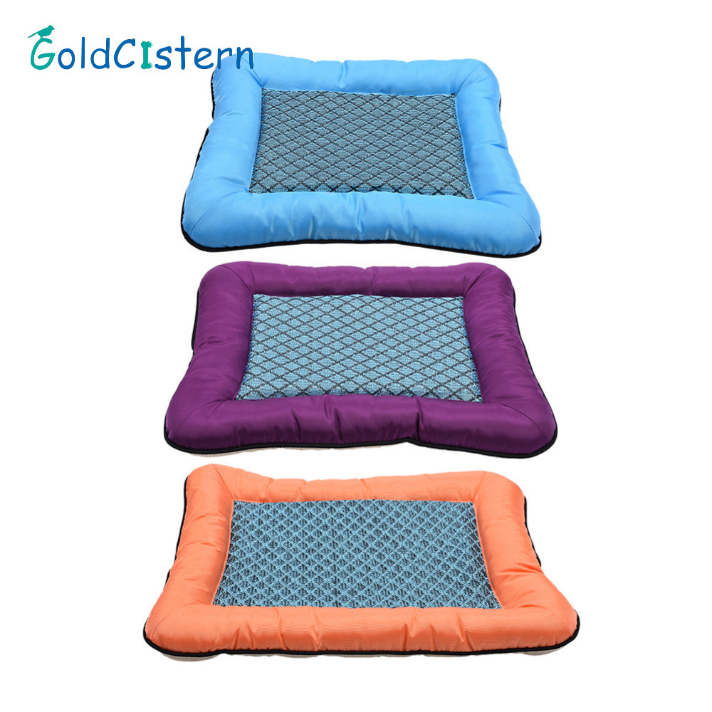 Oxford Cloth Pet Dog Bed Hot Summer Cooling Bed Cushion Basket Pad Mat for Pet Dogs Cats 2 Size 3 color Breathable pet kennel