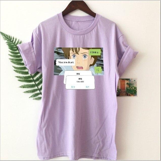 8b6cfeea10e6 Fashionshow de HJN Anime texto estética camiseta moda coreana Ulzzang  estilo Kawaii 90 s la calle Tops