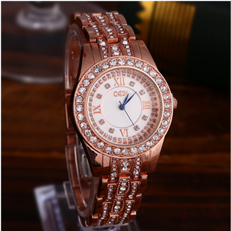 Luxury Watch Ladies Fashion Casual Waterproof Women 39 s Quartz Watches Alloy Graceful Women 39 s Watch Diamonds Rose Gold in Women 39 s Watches from Watches