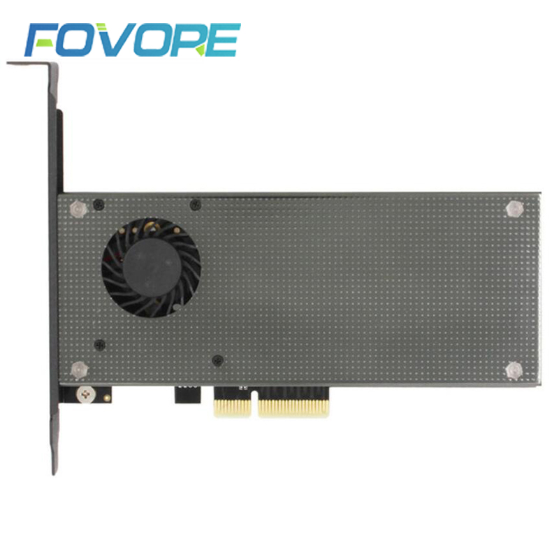 M.2 Expansion NVMe Adapter NGFF Turn PCIE3.0 Cooling Fan SSD Dual Add On Card SATA3 With Fan Aluminum Cover Capacitance