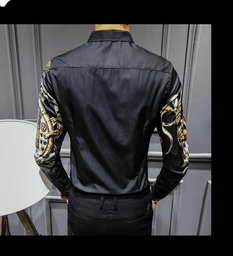 CH KWOK barroco esmoquin camisas hombres impresiones Fiesta Club Camisa hombres Camisa negro hombre manga larga Camisa Oversize 4XL Hip Hop homem