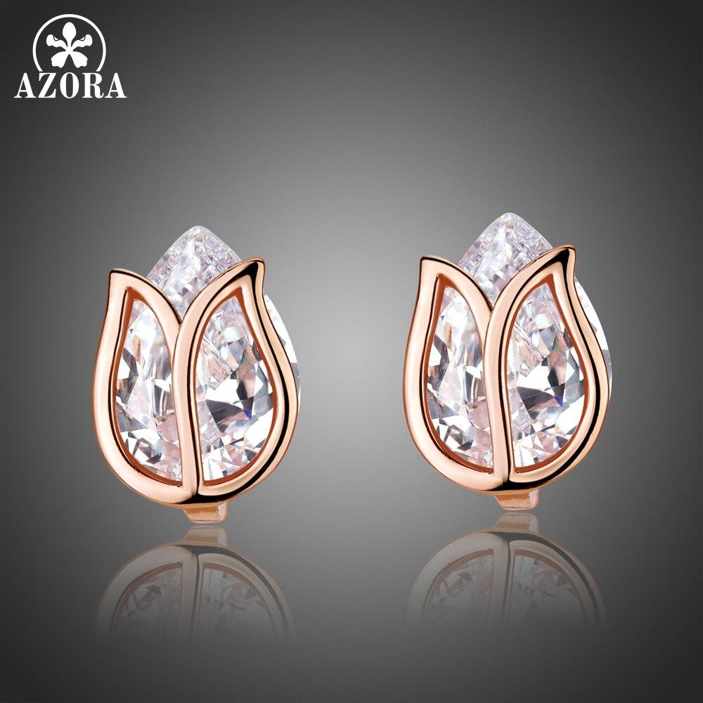 AZORA Nouveau Design Lotus Boucles D'oreilles En Cristal pour les Femmes De Mariage De Mode Poire Cut Zircon Bijoux Accessoires TE0311