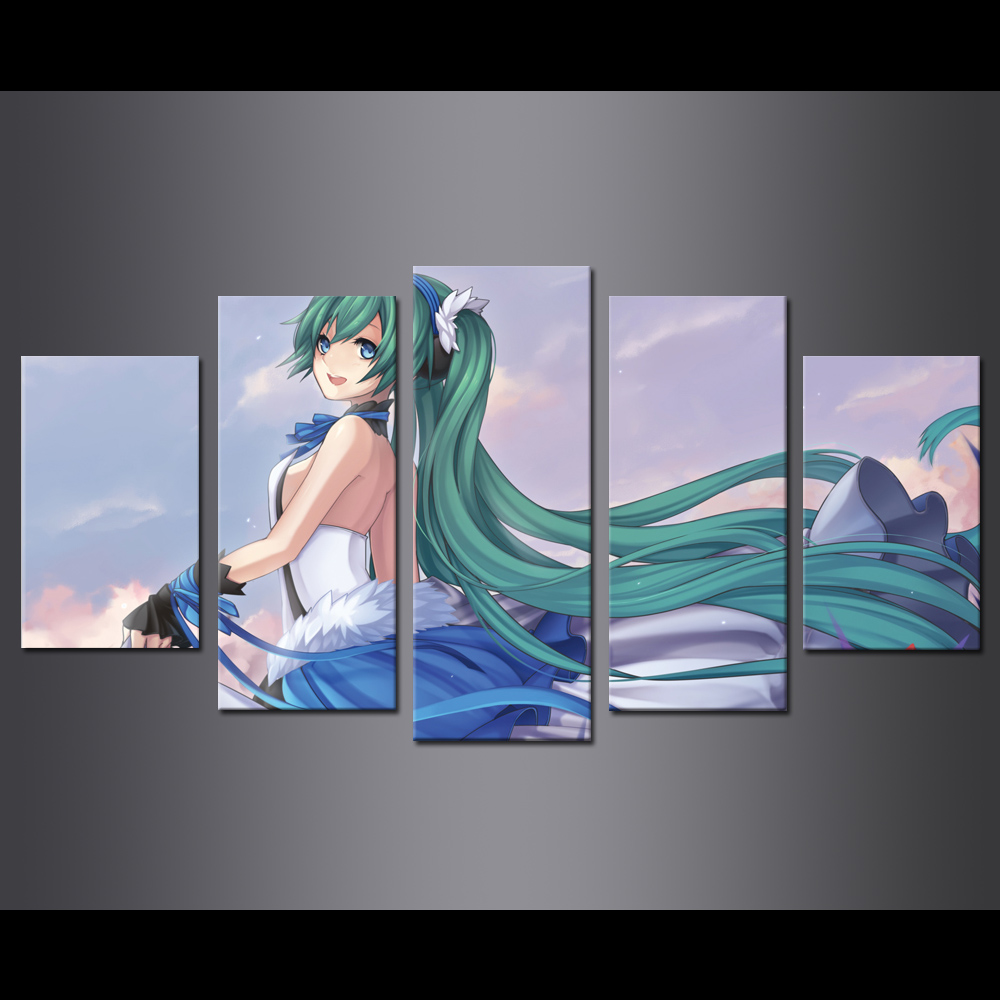 Unframed 5 HD Canvas Prints Hatsune Miku Poster Giclee Modular Picture Prints Wall Pictures For Living Room Wall Art Decoration