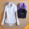 2017 новое поступление горячей продажи американский стиль Тонкий ПР стенд воротник сложите белый черный фиолетовый осень зима долго женщины рубашка тело #4038