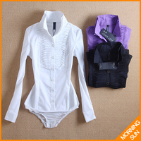 2017 new arrival hot sale american style Slim OL stand collar fold white black purple autumn winter long women body shirt #4038