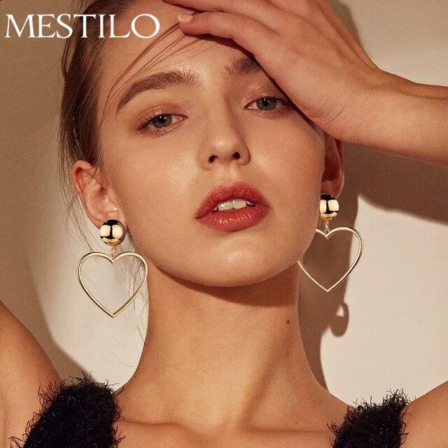 Mestilo корейской моды золотого и серебряного цвета большой полый подвеска в форме сердца серьги для Для женщин девушка просто себе длинные серьги падение подарок