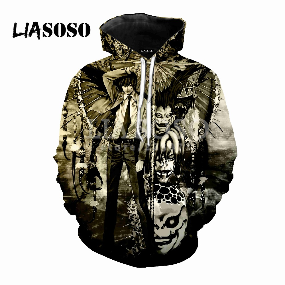 LIASOSO latest fashion hoodie anime death notes men and women wear hooded 3D color printing hoodie fashion brand clothing D094