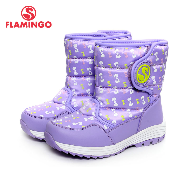 FLAMINGO Winter Waterproof Wool Warm Hook & Loop High Quality Flat Kids Shoes Anti-slip Size 28-33 Snow Boots for Girl W6NQ053 2016 spring canvas flat shoes womens graffiti print casual shoes low top ladies lazy loafers slip on women flats students black