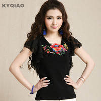 2015 New Mori Girls Vintage Short Sleeve Black White V Neck Embroidery Blouse Brand Flowers Embroider