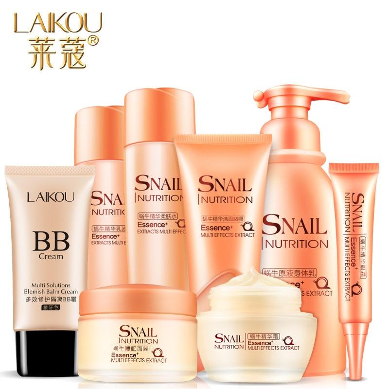 8 unids/set LAIKOU Caracol esencia nutrición multifuncional cuidado de la piel cosméticos Facial tratamiento Facial hidratante crema BB