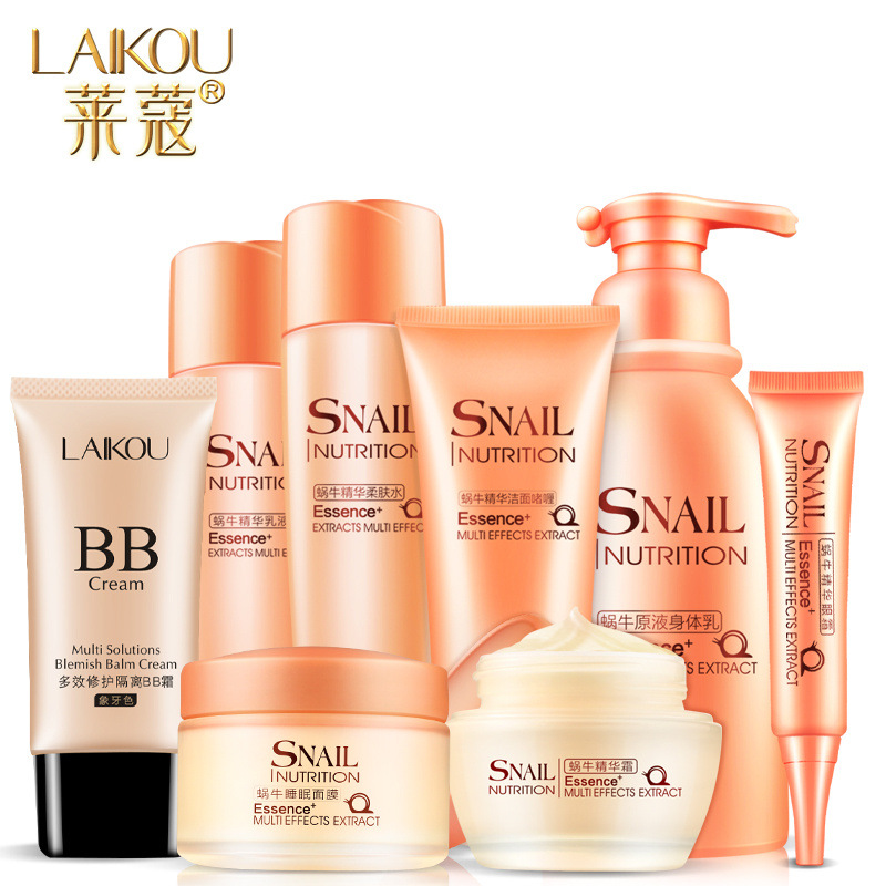 8pcs/sets LAIKOU Snail Nutrition Essence Multifunctional Skin Care Cosmetics Facial Moisturizing Facial Treatment BB Cream colbert md daily nutrition for skin intensify facial discs