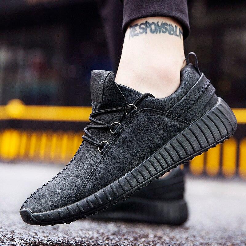 De primavera de los hombres zapatillas de deporte Zapatos transpirables Anti-deslizamiento zapatillas de deporte para los hombres de vestir de cuero al aire libre camino turismo Hombre caminando zapatos