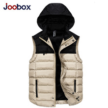 JOOBOX 2017 Fashion Men's Vest Winter Men Brand Hooded Vest Male Fashion Cotton-Padded Waistcoat Jacket and Coat Warm Vest 3XL