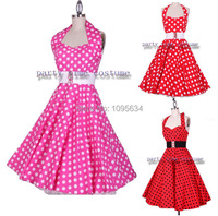 Free Shipping Hot Pink 50s Dots Pinup Halter Neck Swing Dress Rockabilly