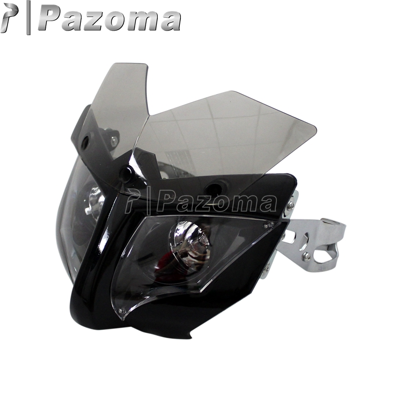 12 V Motorcycle Fairing Headlight Mask with 35-54mm Bracket Front Lighting Headlamp for Street Fighter Naked Bikes12 V Motorcycle Fairing Headlight Mask with 35-54mm Bracket Front Lighting Headlamp for Street Fighter Naked Bikes