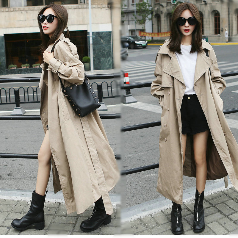 Spring and Autumn Korean Chic Double Button   Trench   Coats Lantern Sleeve Over Knee Women Fashion Comfortable Loose   Trench   Outdoor