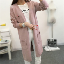 2016 Women's Long Cashmere Wool Cardigan Long Sleeve V-neck Autumn Tops Knitted Sweater Cardigans Outerwear Ladies Coat  JN410