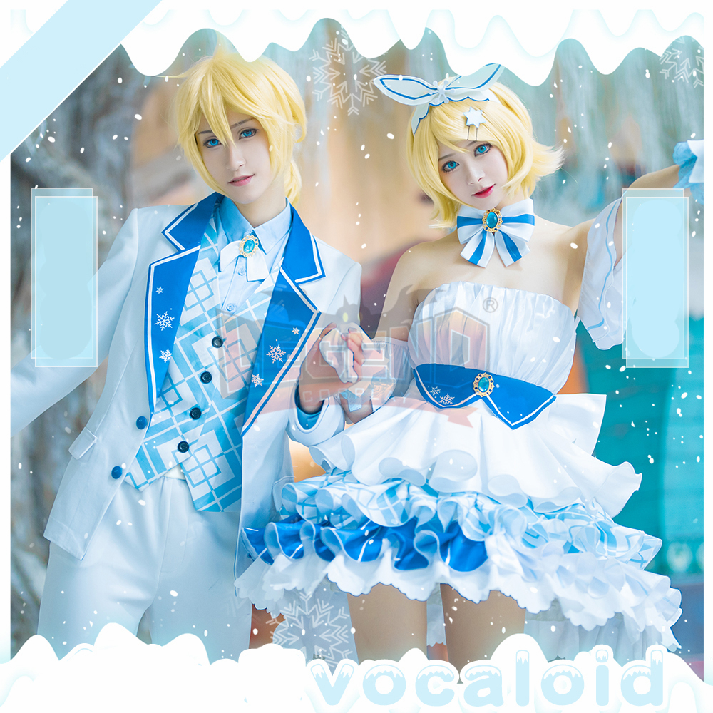 Vocaloïde Kagamine Rin Kagamine Len costume cosplay neige miku 10th anniversaire costume adulte costume costume