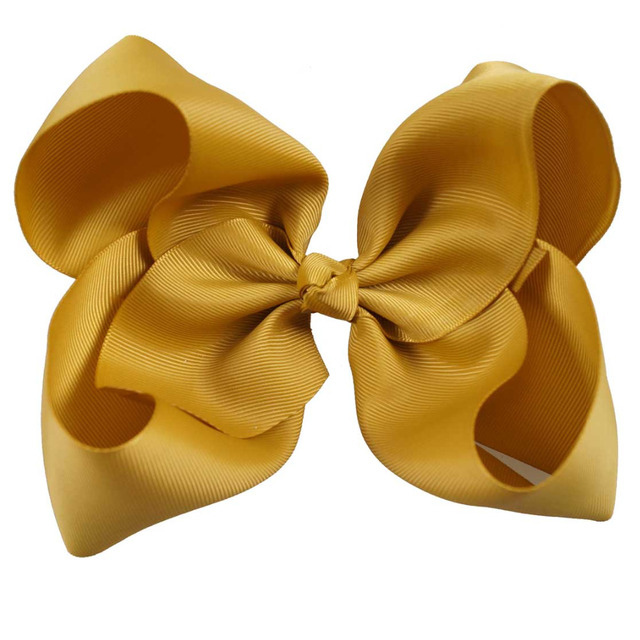 8″ Handmade Solid Large Hair Bow For Girls Kids Grosgrain Ribbon Bow With Clips Boutique Big Hair Accessories
