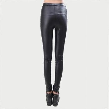 Black Legins Punk Gothic Fashion Women Leggings Sexy PU Leather Stitching Embroidery Hollow Lace Legging For Women Leggins 4