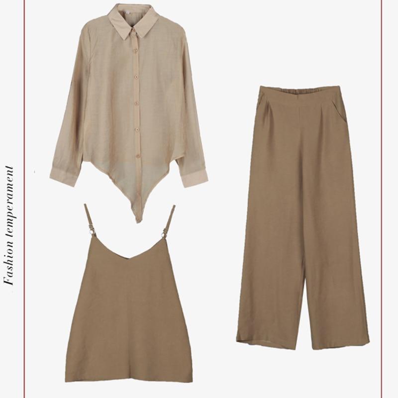 2019 Spring summer women sets office lady elegant chiffon blouse shirts+female wide leg pants trousers pantalon two piece sets 5