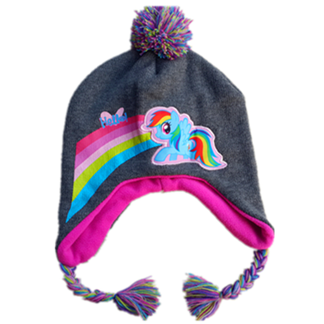 092f1dd0d9c Little Horse Rainbow Dash Knitted Caps Children Autumn Winter Pegasus Cute  Hat Kids Warm Knitting Beanies Fleece Lining with pom