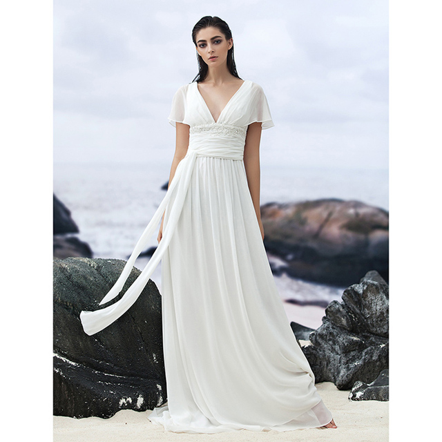 LAN TING BRIDE A Line Wedding Dress V neck Court Train Georgette ...