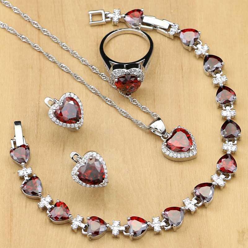 القلب الفضة 925 مجموعات مجوهرات الزفاف الأحمر مكعب خرز من الزركون الديكور للنساء الزفاف الأقراط مع الحجر الدائري قلادة مجموعة