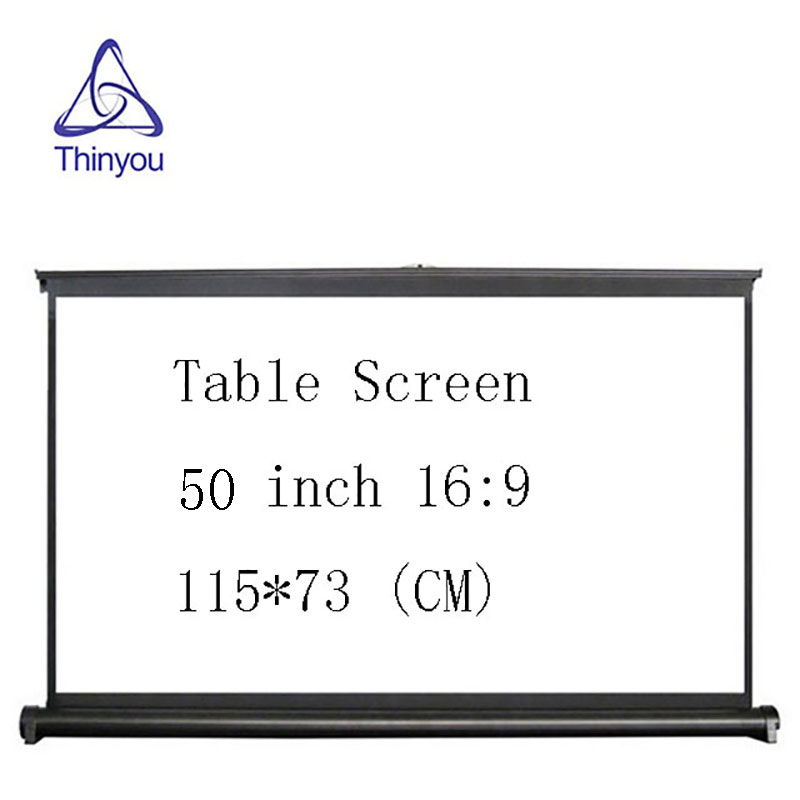 Thinyou Projector Screen 50 inch 16:9 Portable Manual Pull up Table Screen For Office Business Meeting Training Home Theater free shipping 120 inch 16 9 manual screen metallic