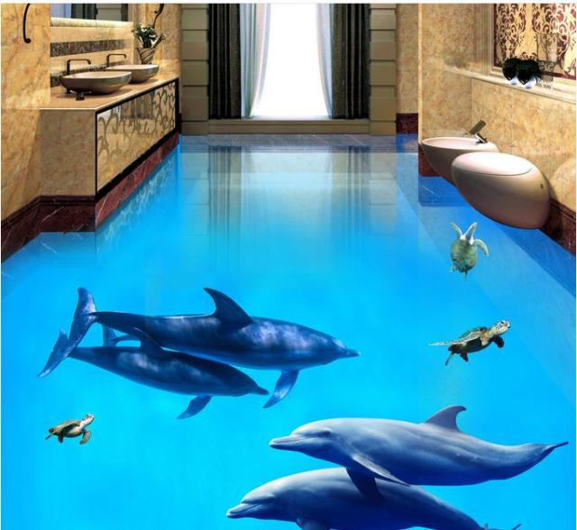 3d Floor Art Vintage Wallpaper Custom Dolphin Wall Murals For Living Room