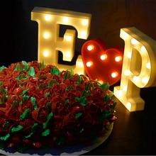 DIY LED letra símbolo señal corazón iluminación LED Vintage plástico boda fiesta vacaciones San Valentín regalo decoraciones noche Luz