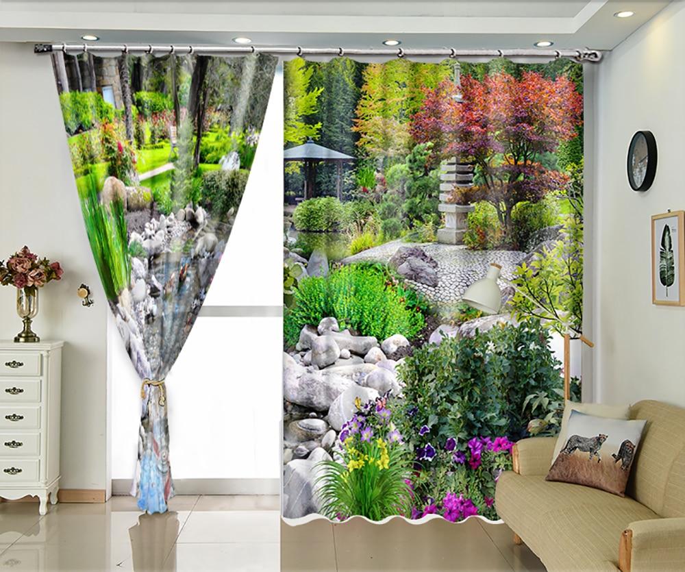 Park stream custom shade curtains