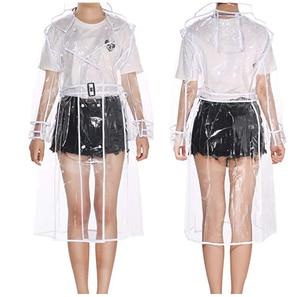 Женские и мужские непромокаемые дождевики YUDING, прозрачные, пластиковые, длинные, с капюшоном и поясом