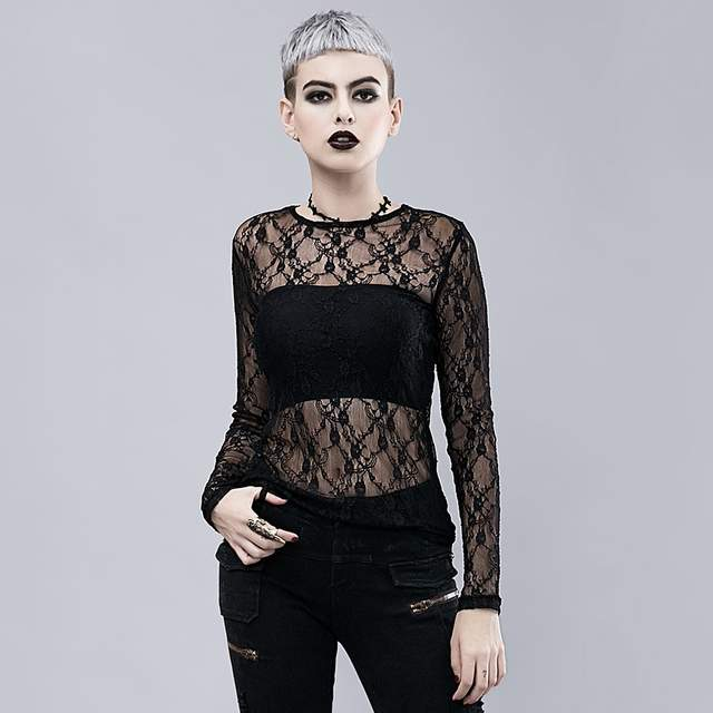 58ce2564786 Black Hot Sexy Transparent Floral Lace O Neck Full Sleeve Gothic Victorian  Top Steampunk Shirts Women Blouses 2018 Vintage Shirt