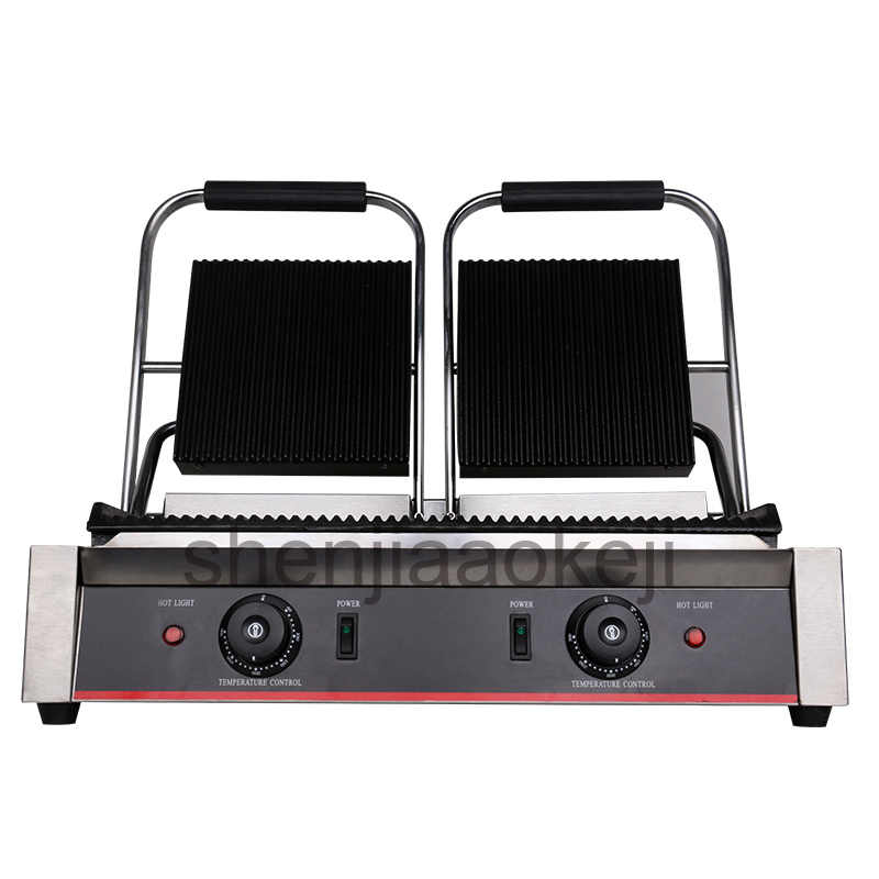 71e272d9d04 stainless steel Non Stick Panini Press Plates electric griddle Grilling pan  Commercial Electric Sandwich maker 1800