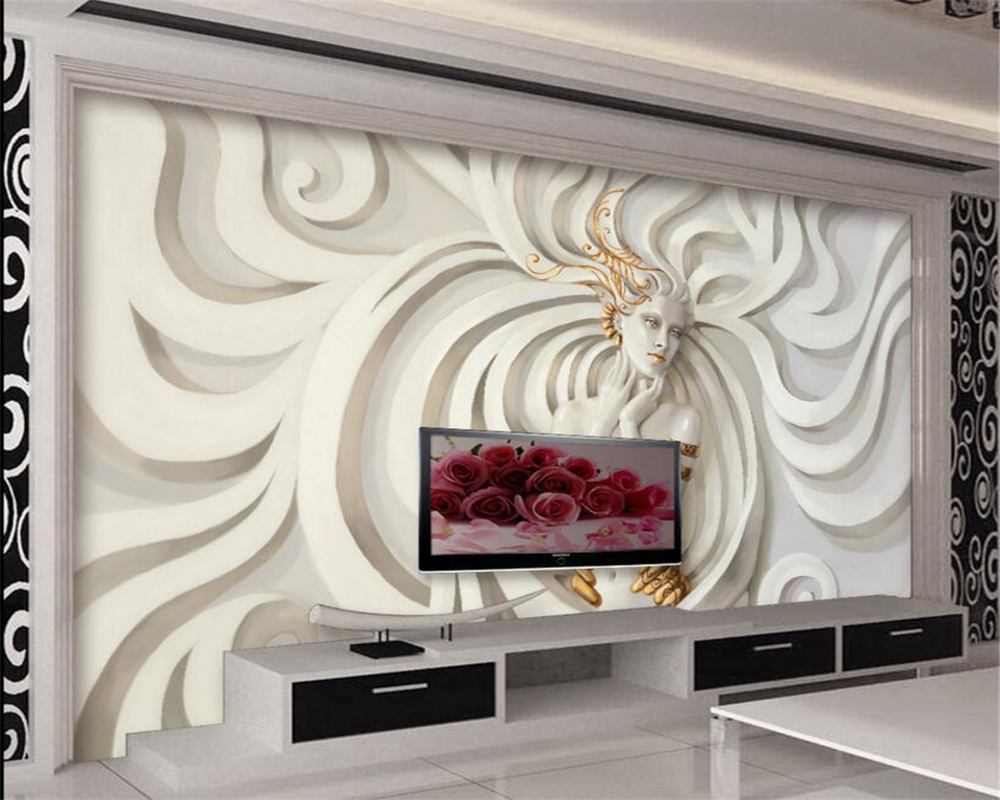 Beibehang 3D Wallpaper Modern Relief 3D Sculpture Beauty 3D TV Backdrop Living Room Bedroom Mural photo wallpaper for walls 3 d pink romantic sakura reflection large mural wallpaper living room bedroom wallpaper painting tv backdrop 3d wallpaper