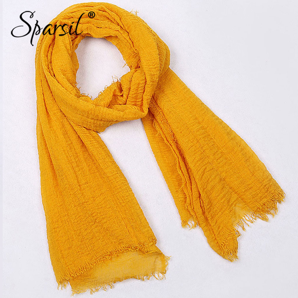 Sparsil Women Summer Breathable Tassel Crinkle Cotton Fold Shawl Solid Scarves